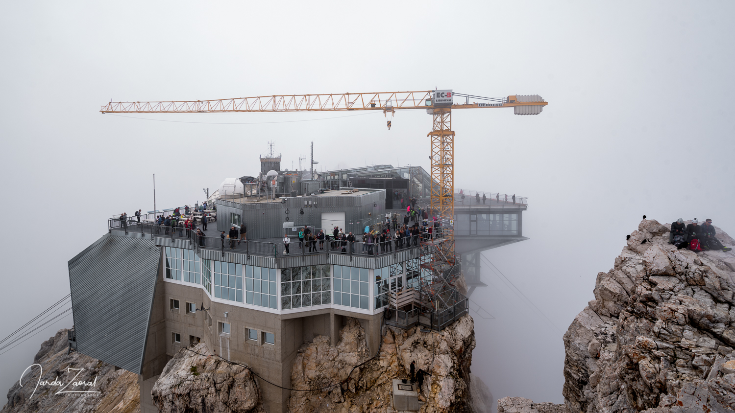 View over the end station of the cable car from the top of Zugspitze