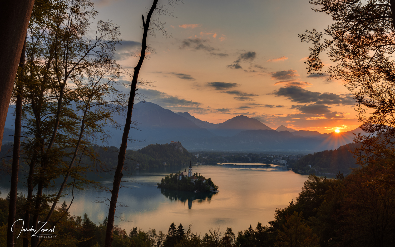 Sunrise over the lake Bled