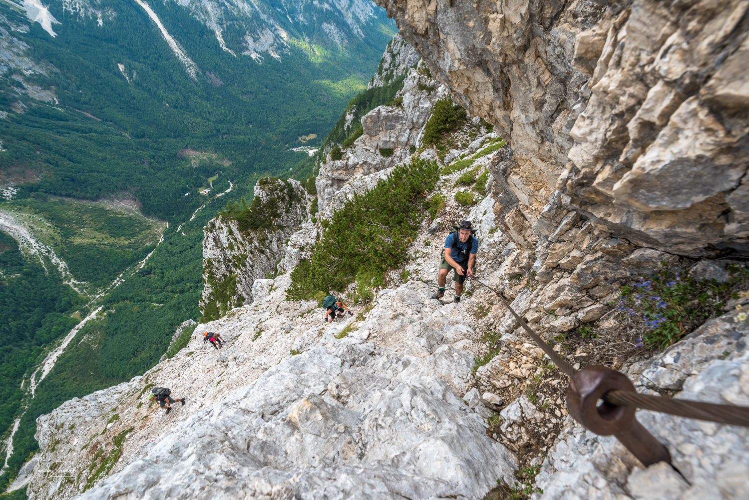 Steep parts on the via ferrata on the way to Triglav